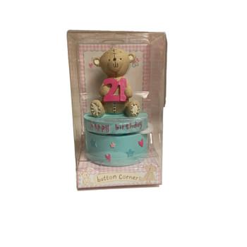 Button Corner 21th Birthday Teddy Bear Keepsakes Gift Box