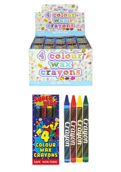 Pack of 4 8cm Superhero Wax Crayons