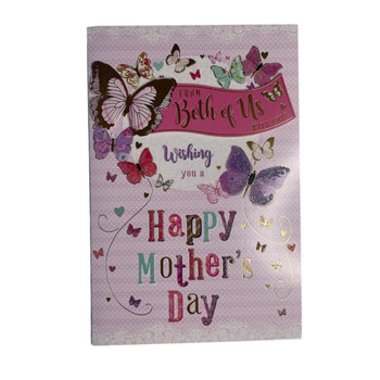 From Both of Us Butterflies Design Open Mother's Day Card