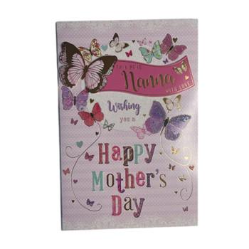 To A Dear Nanna Butterflies Design Open Mother's Day Card