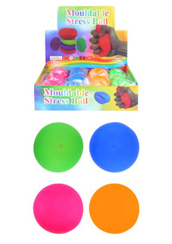 Box of 12 Stretchy Assorted Coloured Stress Balls 7cm