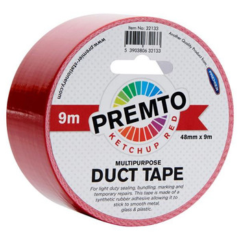 48mm x 9m Multipurpose Ketchup Red Duct Tape by Premto