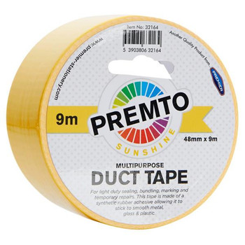 48mm x 9m Multipurpose Sunshine Yellow Duct Tape by Premto