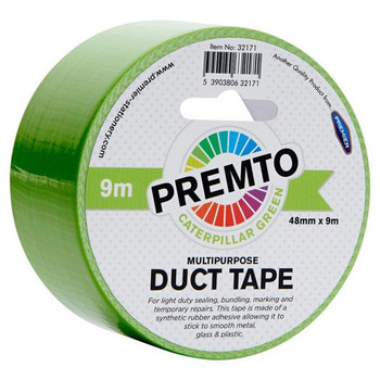 48mm x 9m Multipurpose Caterpillar Green Duct Tape by Premto
