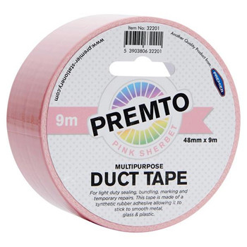48mm x 9m Multipurpose Pastel Pink Sherbet Duct Tape by Premto