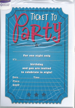 Pack of 20 Ticket Design Party Invitation and Envelopes