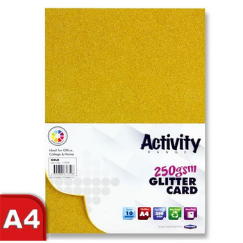 Pack of 10 Sheets A4 Gold 250gsm Glitter Card by Premier Activity