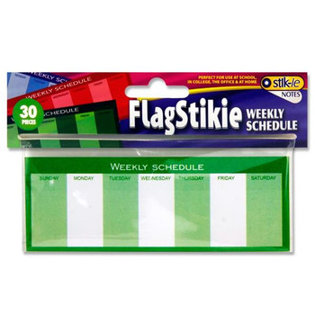 Pack of 30 Flagstickie Note Weekly Schedule Stickey Note Sheets