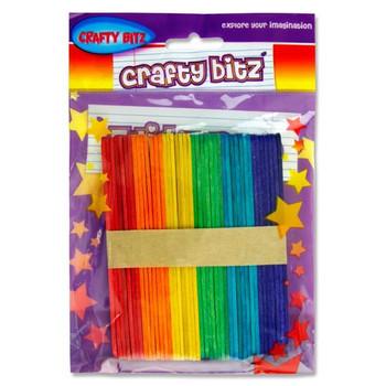 Pack of 42 Coloured Lollipop Sticks by Crafty Bitz