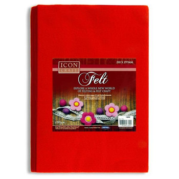 Pack of 10 A4 Red Felt Sheets by Icon Craft