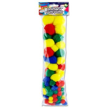 Pack of 100 Assorted Sizes Primary Pom Poms by Crafty Bitz