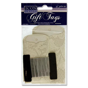 Pack of 6 Lace Envelope Gift Tags With Ribbon by Icon Craft
