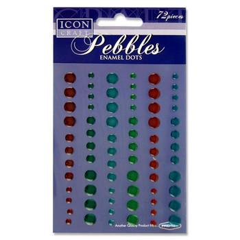 Pack of 72 Assorted Pebbles Enamel Dot by Icon Craft