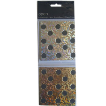 8 Open/Notelets Cards & Envelopes Silver and Gold Spots Design