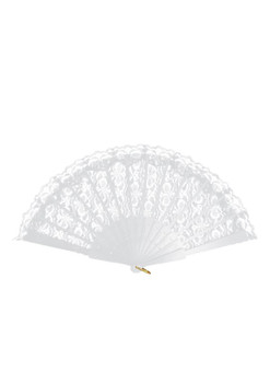 45 x 25cm White Hand Lace Fan