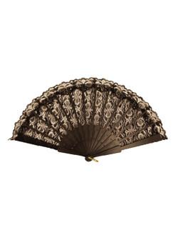 45 x 25cm Black Lace Hand Fan