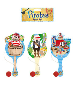 22cm Pirate Wooden Paddle Bat and Ball Game
