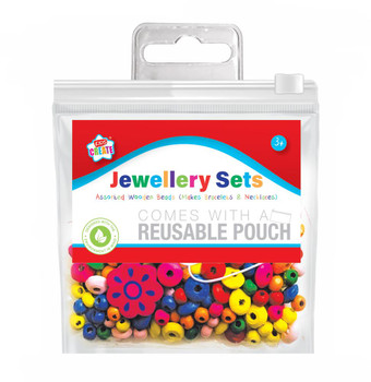 Assorted Jewellery Wooden Beads In Reusable Pouch