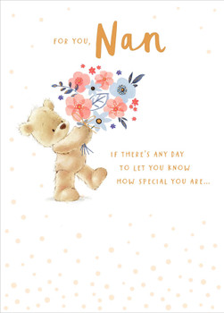 Birthday Card For Nan Bear With Bunch Of Flowers