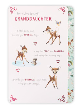 Bambi and Thumper with Red Foil Finish Granddaughter Birthday Card