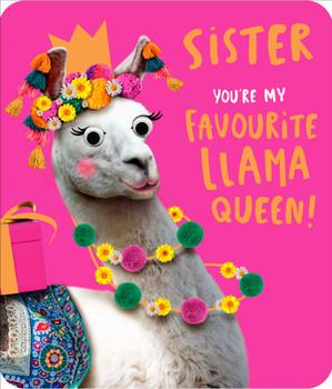 Sister Birthday Card You're my Llama Queen