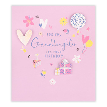 Granddaughter Hearts And Florals Birthday Card