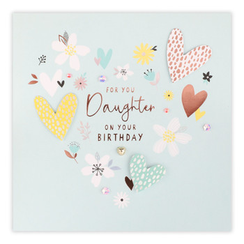 Daughter Hearts And Flowers Birthday Card