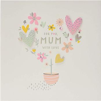 Mum Handmade Birthday Card with Hearts And Flowers