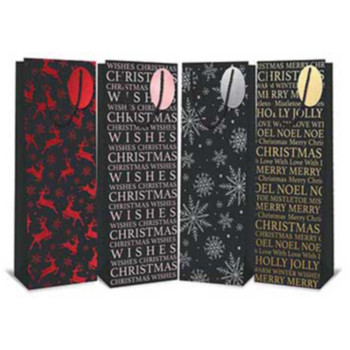 Pack of 12 Bottle Christmas Bag Deluxe Black Foil Christmas Designs