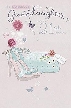 Granddaughter 21st Birthday Card Foil Finish