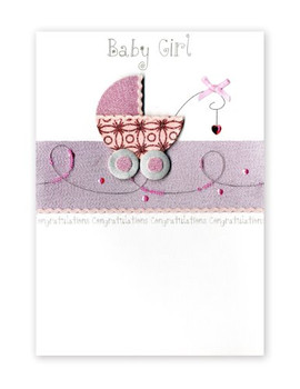 Second Nature Luxury Greeting Card for the Birth of a Baby Girl