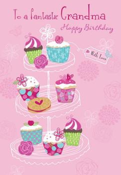 """Fantastic Grandma"" Quality Embossed Birthday Card"