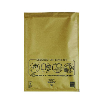 Pack of 50 300x440mm Gold Mail Lite Bubble Lined Postal Bag