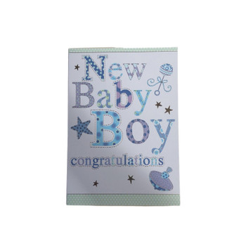 New Baby Boy Birth Congratulations Blue FANTASTIC COLOURFUL Quality Greeting Card