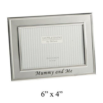 """2 Tone Silverplated Oblong Frame """"Mummy & Me"""" 6"""" x 4"""""""
