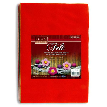 Pack of 10 A4 Assorted Felt Sheets by Icon Craft