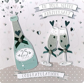 Second Nature Collectable Keepsake Champagne and Flutes Silver Anniversary Card