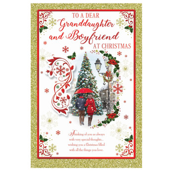 To a Dear Granddaughter and Boyfriend Best Wishes Classic Design Christmas Card