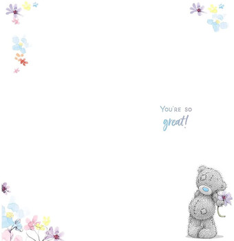 Thank You Card Bear With Flower