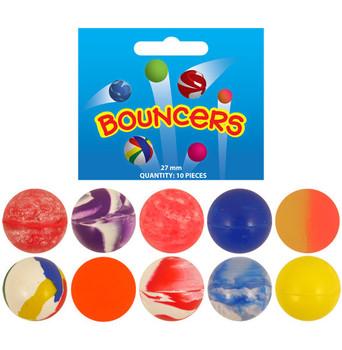 Pack of 10 Assorted Bouncing Balls Jet Balls (2.5cm)