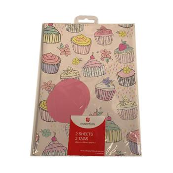 Cupcake Design Gift Wrap 2 sheets 2 Tags