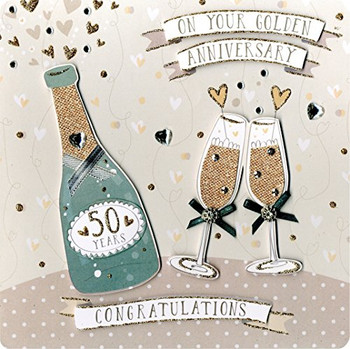 Second Nature Collectable Keepsake Champagne Bottle and Flutes Design Golden Anniversary Card