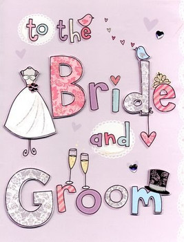 """Second Nature Collectable """"Bride and Groom"""" Handmade Large Wedding Card"""