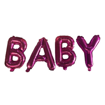 Pink BABY Text Foil Balloons With Ribbon and Straw for Inflating