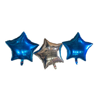 Two Blue and a Silver Star Foil Balloons With Ribbon and Straw for Inflating