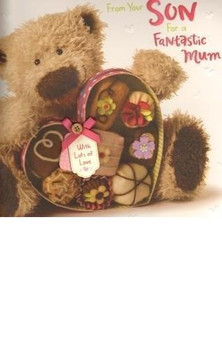 Mum From Your Son Mother's Day Card Bear With Chocolate Box