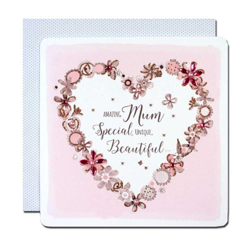 Amazing Mum Handmade Crystals & Glitter  Luxury Mother's Day Large Card