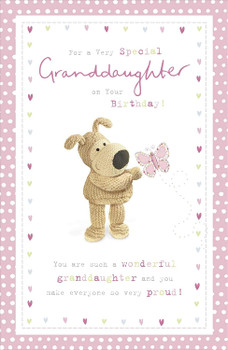 Very Special Granddaughter Birthday Card from The Boofle Range Butterflies Embossed Finish