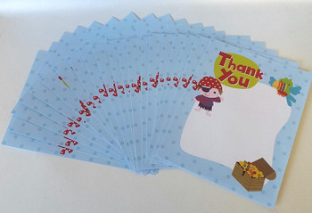 Pack of 100 Pirate Thank You Sheets and Envelopes