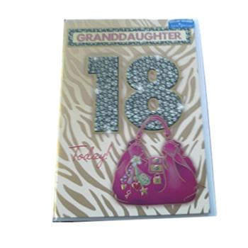 Granddaughter 18 Today! Medium Sized Fashion Birthday Card